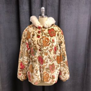 Vintage Tapestry Coat M L 1950's Fabric Fur Hood